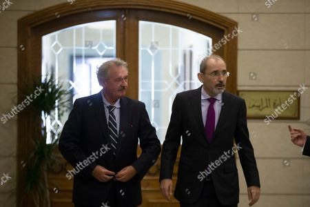 Luxembourg Foreign Minister Jean Asselborn (L) arrives with his Jordan counterpart Ayman Safadi to address the media at the Foreign Ministry in Amman, Jordan, 12 September 2019.