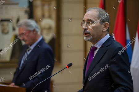 Jordan Foreign Minister Ayman Safadi with his Jordan counterpart Jean Asselborn (L) address the media at the Foreign Ministry in Amman, Jordan, 12 September 2019.