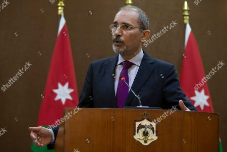 Jordan Foreign Minister Ayman Safadi addresses the media at the Foreign Ministry in Amman, Jordan, 12 September 2019.
