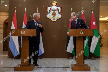 Stock Image of Jordan Foreign Minister Ayman Safadi with his Jordan counterpart Jean Asselborn (L) address the media at the Foreign Ministry in Amman, Jordan, 12 September 2019.