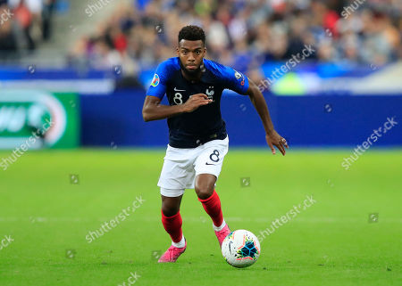 France's Thomas Lemar controls the ball during the Euro 2020 group H qualifying soccer match between France and Andorra at the Stade de France in Saint Denis, north of Paris, France