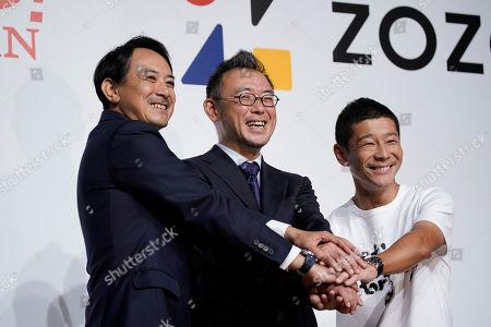 Kentaro Kawabe, Kotaro Sawada, Yusaku Maezawa. Yahoo Japan's Kentaro Kawabe, from left, Zozo's new CEO, Kotaro Sawada, and Zozo founder, Yusaku Maezawa, pose for photos during a news conference, in Tokyo