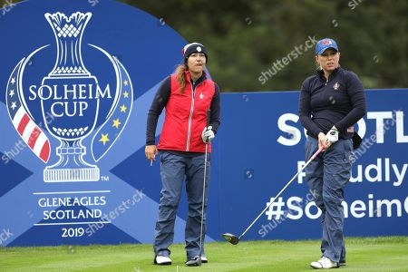 Morgan Pressel, right, and Marina Alex of the US tees off on the 4th hole during a practice round for the Solheim cup at Gleneagles, Auchterarder, Scotland,. The Solheim cup runs from 13-15 Sept