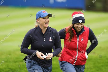 Morgan Pressel, left, and Marina Alex of the US during a practice round for the Solheim cup at Gleneagles, Auchterarder, Scotland,. The Solheim cup runs from 13-15 Sept