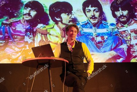 Stock Image of Producer Giles Martin talking about remixing The Beatles albums at the Royal Institute of British Architects