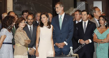 Spanish King Felipe of Spain (3-R) and Queen Letizia of Spain (3-L) attend the opening of the exhibition 'The Longest Journey' with Spanish acting deputy Prime Minister, Carmen Calvo (2-L), regional president, Juan Manuel Moreno (2-R), and Treasure Minister, Maria Jesus Montero (L), on occasion of the 5th Centenary of the First Travel Around the World at the Royal Alcazar of Seville, Spain, 12 September 2019. Others are not identified.