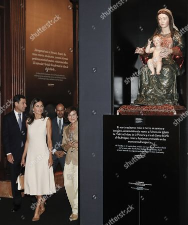 Queen Letizia of Spain (C) attends the opening of the exhibition 'The Longest Journey' with acting deputy Prime Minister, Carmen Calvo (R), on occasion of the 5th Centenary of the First Travel Around the World at the Royal Alcazar of Seville, Spain, 12 September 2019. Others are not identified.