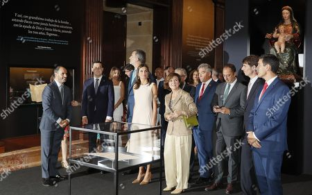 Spanish King Felipe of Spain (C-L) and Queen Letizia of Spain (C-R) attend the opening of the exhibition 'The Longest Journey' with Spanish acting deputy Prime Minister, Carmen Calvo (R, first row), on occasion of the 5th Centenary of the First Travel Around the World at the Royal Alcazar of Seville, Spain, 12 September 2019. Others are not identified.