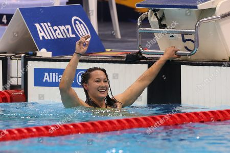 Alice Tai of Britain reacts after she won the Women's 400M Freestyle S8 final on day four of the World Para Swimming Championships at the London Aquatics Centre in London, Britain, 12 September 2019. The event is one of the largest Para Swimming championships and will see nearly 600 swimmers compete from 09 September to 15 September 2019.