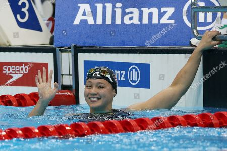 Alice Tai of Britain reacts after the Women's 400M Freestyle S8 heat during day four of the World Para Swimming Championships at the London Aquatics Centre in London, Britain, 12 September 2019. The event is one of the largest Para Swimming championships and will see nearly 600 swimmers compete from 09 September to 15 September 2019.