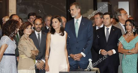 Spanish King Felipe of Spain (3R) and Queen Letizia of Spain (3L) attend the opening of the exhibition 'The Longest Journey' with Spanish acting deputy Prime Minister, Carmen Calvo (2L), regional president, Juan Manuel Moreno (2R), and Treasure Minister, Maria Jesus Montero (L), on occasion of the 5th Centenary of the First Travel Around the World at the Royal Alcazar of Seville, Spain, 12 September 2019.