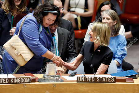 Kelly Craft, Karen Pierce. New U.S. Ambassador Kelly Craft, right, shakes hands with Britain's Ambassador Karen Pierce as she attends her first Security Council meeting, at United Nations headquarters