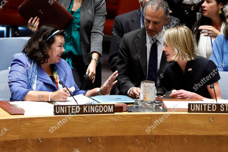 Kelly Craft, Karen Pierce. New U.S. Ambassador Kelly Craft, right, talks with Britain's Ambassador Karen Pierce as she attends her first Security Council meeting, at United Nations headquarters