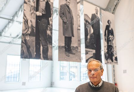 German art historian and curator Goetz Adriani stands in front of artists' portraits in the exhibition 'Die jungen Jahre der alten Meister' (The Early Years of the Old Masters) in the Deichtorhallen venue in Hamburg, Germany, 12 September 2019. The exhibition featuring German famous painters Georg Baselitz, Gerhard Richter, Sigmar Polke, and Anselm Kiefer runs from 13 September to 05 January 2020.