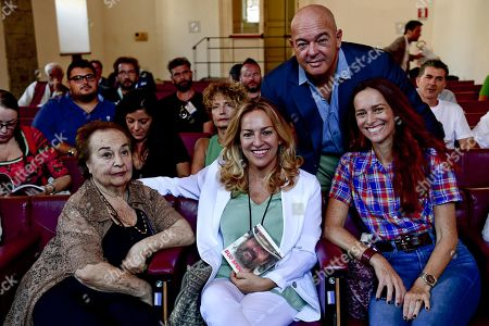 Members of the family of Bud Spencer wife Maria Amato, daughters Christiana and Diamante Pedersoli and son Giuseppe attend the inauguration of the 'bud spencer. multimedial exhibition' at the Royal Palace of Naples, Italy, 12 September 2019. The exhibition is dedicated to the actor whose real name is Carlo Pedersoli (1929-2016). Before becoming famous for his films, the actor of Neapolitan origin, was a swimmer and water polo player. The exhibition runs from 13 September to 08 December.