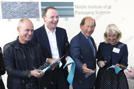 (L-R) Swiss Psychiatrist and pilot Bertrand Piccard, Nestle's CEO Ulf Mark Schneider, Nestle's chairman Paul Bulcke and Vaud state councillor Jacqueline de Quattro cut the ruban during the inauguration of Nestle Institute of Packaging Sciences at the Nestle Research center of the food and drinks giant, in Vers-chez-les-Blanc, Lausanne, Switzerland, 12 September 2019.