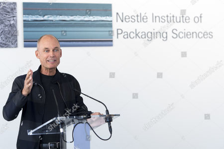 Swiss Psychiatrist and pilot Bertrand Piccard speaks during the inauguration of Nestle Institute of Packaging Sciences at the Nestle Research center of the food and drinks giant, in Vers-chez-les-Blanc, Lausanne, Switzerland, 12 September 2019.