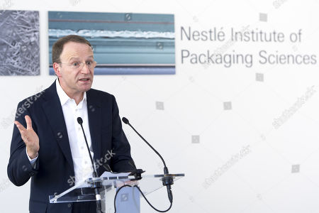 Nestle's CEO Ulf Mark Schneider speaks during the inauguration of Nestle Institute of Packaging Sciences at the Nestle Research center of the food and drinks giant, in Vers-chez-les-Blanc, Lausanne, Switzerland, 12 September 2019.