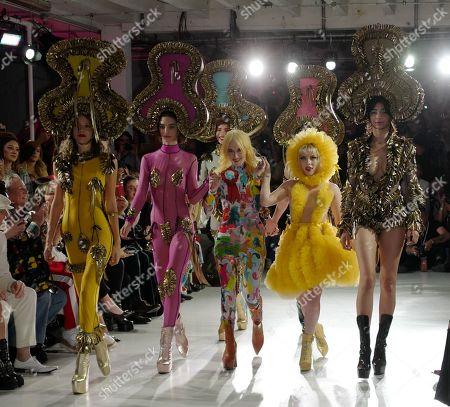 Designer Pam Hogg, Ellie Rae Winstone and models on the catwalk