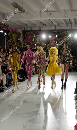Stock Picture of Designer Pam Hogg, Ellie Rae Winstone and models on the catwalk