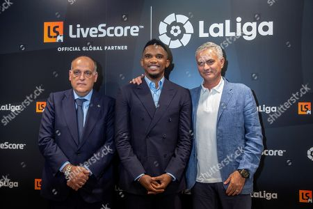 (L-R) Spanish National Professional Football League LaLiga President Javier Tebas, former  soccer player Samuel Eto'o and soccer coach Jose Mourinho attend the presentation of the sports application LiveScore in Madrid, Spain, 12 September 2019. The newly released LiveScore application is the new sponsor of the Spanish first division LaLiga.