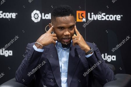 Former soccer player Samuel Eto'o attends the presentation of the sports application LiveScore in Madrid, Spain, 12 September 2019. The newly released LiveScore application is the new sponsor of the Spanish first division LaLiga.