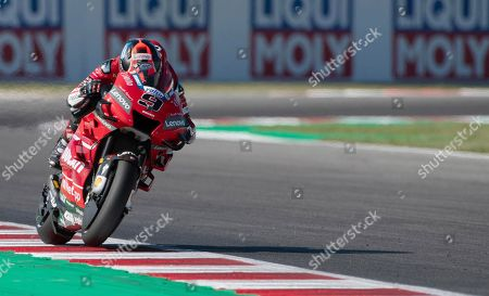 Italian MotoGP rider, Danilo Petrucci, of the Ducati Team during the Friday free practice (FP1) of the Motorcycling Grand Prix of San Marino and Riviera di Rimini at the Misano Circuit in Misano Adriatico, Italy, 13 September 2019.