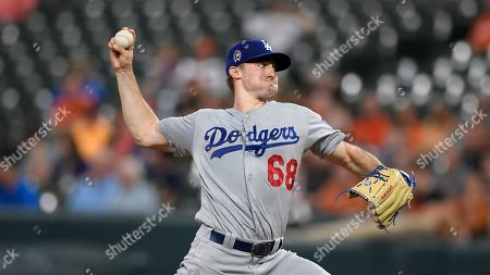 Stock Image of Los Angeles Dodgers starting pitcher Ross Stripling delivers a pitch during a baseball game against the Baltimore Orioles, in Baltimore