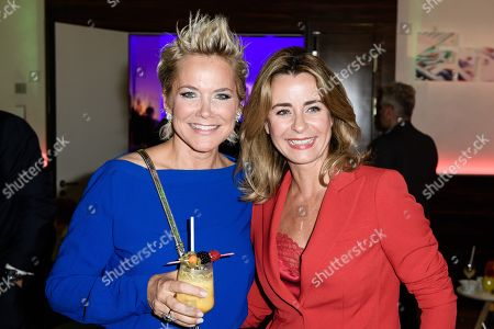 German singer and TV presenter and actress Inka Bause (L) and German actress Bettina Kramer (R) pose during the Bertelsmann party 2019 in Berlin, Germany, 12 September 2019. More than 600 guests from all fields of society are invited for the Bertelsmann Party 2019.