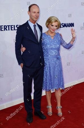 CEO of Bertelsmann Thomas Rabe and German businesswoman and philanthropist Liz Mohn attend the red carpet of the Bertelsmann party 2019 in Berlin, Germany, 12 September 2019. More than 600 guests from all fields of society are invited for the Bertelsmann Party 2019.