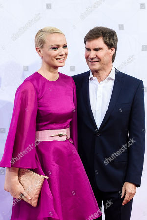 Stock Picture of German model Franziska Knuppe (L) and German businessman Carsten Maschmeyer attend the Bertelsmann Party 2019 in Berlin, Germany, 12 September 2019 (issued 13 September 2019). More than 600 guests from all fields of society were invited to the event.