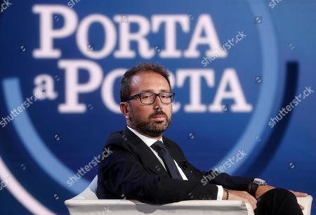 Italian Justice Minister Alfonso Bonafede (L) speaks during the Raiuno Italian program 'Porta a porta' conducted by Italian journalist Bruno Vespa, in Rome, Italy, 12 September 2019.
