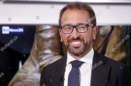Italian Justice Minister Alfonso Bonafede, prior to the Raiuno Italian program 'Porta a porta' conducted by Italian journalist Bruno Vespa, in Rome, Italy, 12 September 2019.