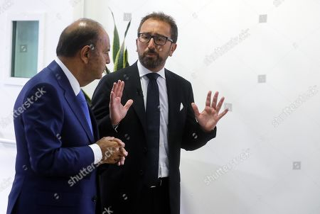 Italian Justice Minister Alfonso Bonafede (R), prior to the Raiuno Italian program 'Porta a porta' conducted by Italian journalist Bruno Vespa (L) in Rome, Italy, 12 September 2019.