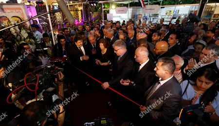 Syrian Vice-President Najah al-Attar(c) inaugurates the opening ceremony of the international Book Fair at al-Assad National Library in Damascus, Syria, 12 August 2019. The fair was opened under the patronage of President Bashar al-Assad?s vice-President Najah al-Attar. Dozens of publishing houses from Lebanon, Iraq, Egypt, Saudi-Arabia, Palatine, Jordan, Iran, Denmark and Russia are taking part in the 10-day fair.