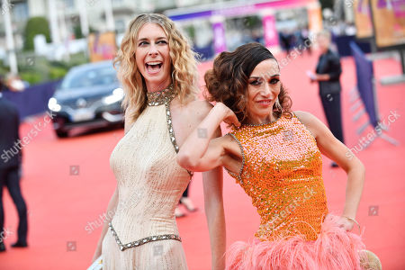 US actresses Dawn Luebbe (L) and Jocelyn DeBoer (R) arrive on the red carpet prior to the premiere of 'Une vie cachee' during the 45th Deauville American Film Festival, in Deauville, France, 12 September 2019. The festival runs from 06 to 15 September 2019.
