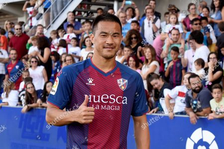 Shinji Okazaki of Japan poses during his presentation as a new SD Huesca player in Huesca, Spain, 12 September 2019.