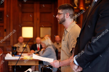 John Williams addresses the court during his sentencing hearing before being given a life sentence for the April 25, 2018 killing of Somerset County Cpl. Eugene Cole, in Portland, Maine