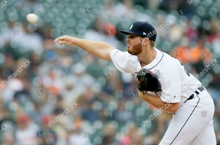 Detroit Tigers relief pitcher David McKay delivers against the New York Yankees during the sixth inning of game one of a doubleheader baseball game, in Detroit