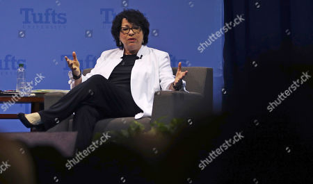 U.S. Supreme Court Justice Judge Sonia Sotomayor gestures during a visit to Tufts University in Medford, Mass