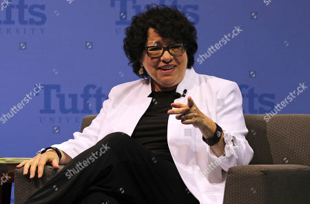 Stock Picture of U.S. Supreme Court Justice Judge Sonia Sotomayor gestures during a visit to Tufts University in Medford, Mass