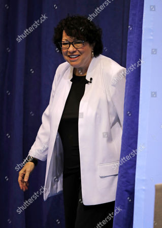U.S. Supreme Court Justice Judge Sonia Sotomayor arrives for a visit to Tufts University in Medford, Mass
