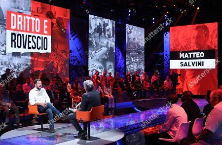 Italian Lega party's Secretary Matteo Salvini (L) attends the Rete4 Italian program 'Dritto e rovescio' conducted by Italian journalist Paolo Del Debbio (R) in Milan, Italy, 12 September 2019.