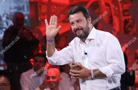 Italian Lega party's Secretary Matteo Salvini attends the Rete4 Italian program 'Dritto e rovescio' conducted by Italian journalist Paolo Del Debbio in Milan, Italy, 12 September 2019.