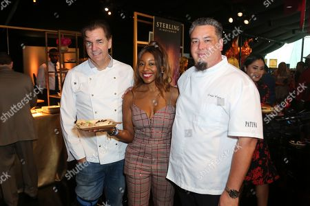 Alec Lestr, Kinya Clairborne, Gregg Wiele. Executive Chef at Patina Catering Alec Lestr, from left, Kinya Clairborne and Vice President of Culinary at Patina Catering Gregg Wiele attend the 71st Governors Ball press preview, in Los Angeles