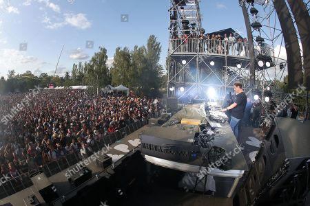 The DJ and Festival producer Joachim Garraud performs on stage during the 10th anniversary of the Electric Park Festival