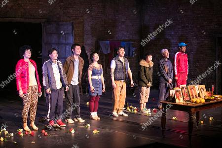 Celeste Den (Yin-Yin/Luo-Na), Aidan Cheng (Little Yi/Peter), Vincent Lai (Wen/Johnny), Tuyen Do (Lili/An-Mei/Ruzhen), Kok-Hwa Lie (Kuan/Wang-Wei), Millicent Wong (Jasmine/Pei-Pei), Togo Igawa (Old Yang/Minister Li) and Christopher Goh (Shen/Han-Han) during the curtain call