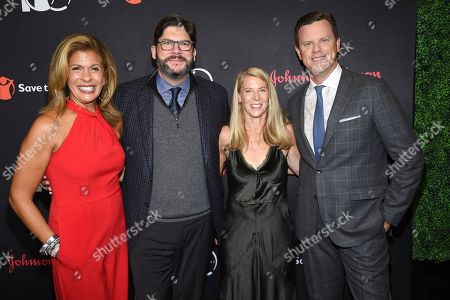 "Stock Photo of Hoda Kotb, Jim Bell, Carolyn Miles, Willie Geist. Save the Children CEO Carolyn Miles, second from right poses with Hoda Kotb, left, Jim Bell and Willie Geist at the Save the Children's ""The Centennial Gala: Changing the World for Children"" at the Hammerstein Ballroom, in New York"