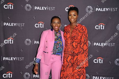 """Gina Yashere and Folake Olowofoyeku attend CBS's """"Bob Hearts Abishola"""" screening and panel during the 2019 PaleyFest Fall TV Previews at The Paley Center for Media, in Beverly Hills, Calif"""