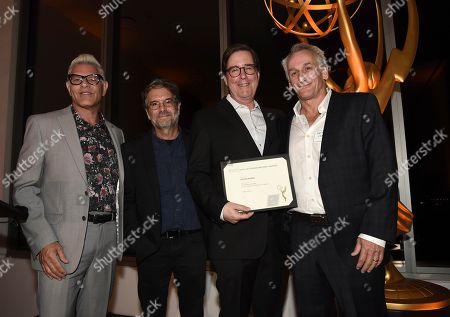 """David Rubin, Matt Craven, Howard Meltzer, Peter Golden. Television Academy Governors Howard Meltzer, from left, and Peter Golden, second from left, and Matt Craven, right, pose with David Rubin, Emmy nominee for outstanding casting for a limited series, movie or special for """"Sharp Objects,"""" at the Television Academy's Casting Directors Nominee Reception at 1 Hotel West Hollywood, in West Hollywood, Calif"""